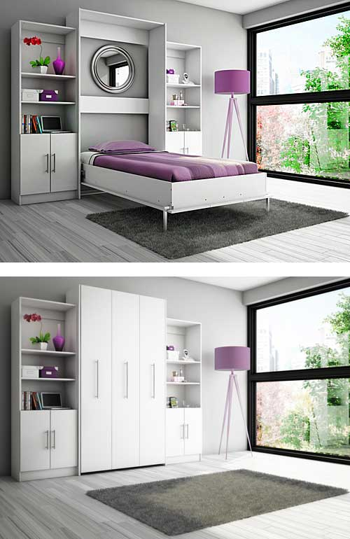 Delightful White Murphy Bed