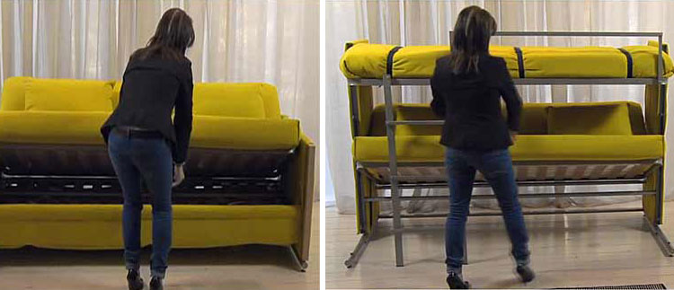 Bunk bed couch folding sofa turns into bunk bed in seconds for Couch that turns into a bunkbed