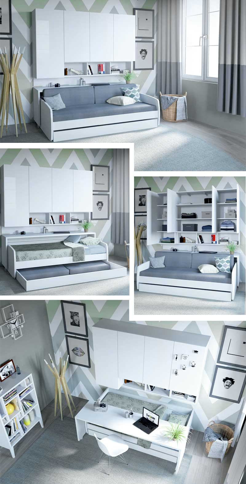 Trundle Bed With Sofa Like Seating